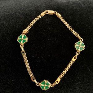 14k Yellow Gold & Enamel Clover Bracelet 🍀🍀🍀